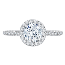 Load image into Gallery viewer, CA0153EQ-37W Bridal Jewelry Carizza White Gold Round Diamond Halo Engagement Rings