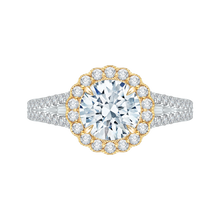 Load image into Gallery viewer, CA0156EYLH-37WY-1.5 Bridal Jewelry Carizza White Gold Rose Gold Yellow Gold Round Diamond Halo Engagement Rings