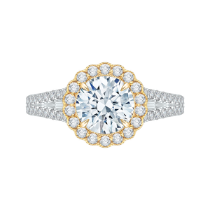 CA0156EYLH-37WY-1.5 Bridal Jewelry Carizza White Gold Rose Gold Yellow Gold Round Diamond Halo Engagement Rings