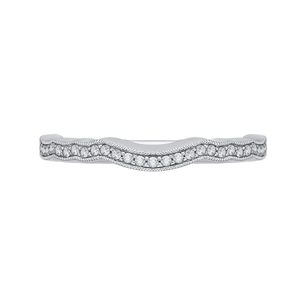CA0163BH-37W Bridal Jewelry Carizza White Gold Round Diamond Wedding Bands