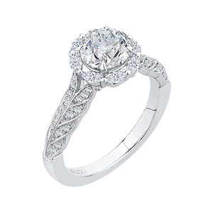 14K White Gold Round Diamond Floral Halo Engagement Ring (Semi Mount)
