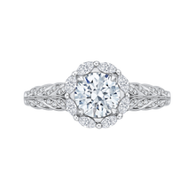 Load image into Gallery viewer, CA0163EH-37W Bridal Jewelry Carizza White Gold Round Diamond Halo Engagement Rings
