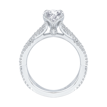 Load image into Gallery viewer, 14K White Gold Round Diamond Engagement Ring with Split Shank (Semi Mount)