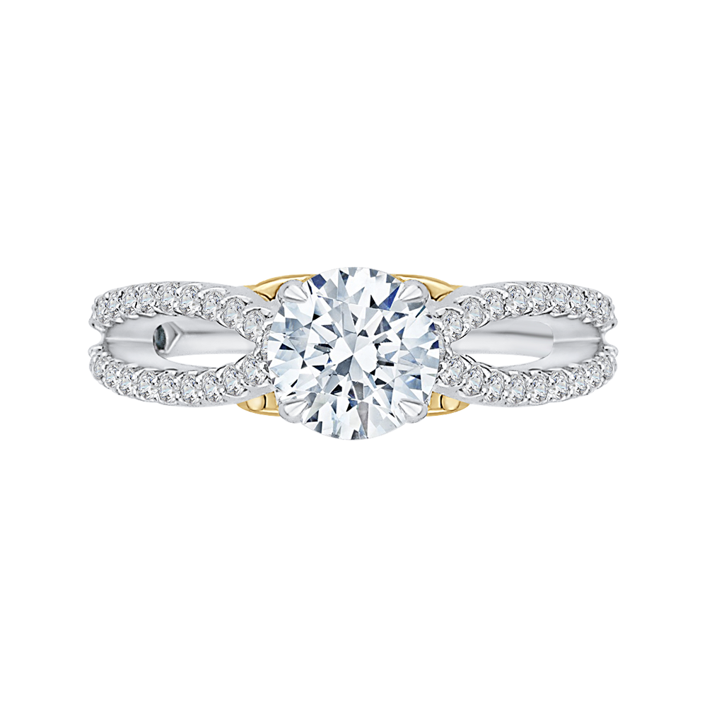 CA0169EH-37WY Bridal Jewelry Carizza White Gold Rose Gold Yellow Gold Round Diamond Engagement Rings