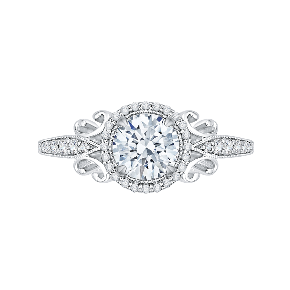 CA0181EH-37W Bridal Jewelry Carizza White Gold Round Diamond Halo Engagement Rings