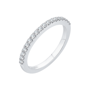 14K White Gold Round Diamond Half Eternity Wedding Band