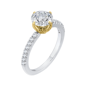 14K Two Tone Gold Round Diamond Floral Engagement Ring (Semi Mount)