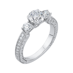 14K White Gold Round Diamond Three Stone Engagement Ring (Semi Mount)