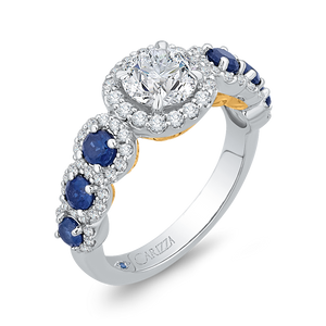 14K Two Tone Gold Round Diamond Engagement Ring with Sapphire (Semi Mount)