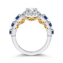 Load image into Gallery viewer, 14K Two Tone Gold Round Diamond Engagement Ring with Sapphire (Semi Mount)