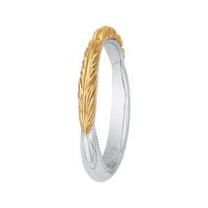 14K Two Tone Gold Plain Wedding Band