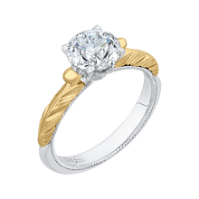 Load image into Gallery viewer, Round Cut Solitaire Diamond Vintage Engagement Ring In 14K Two Tone Gold (Semi Mount)