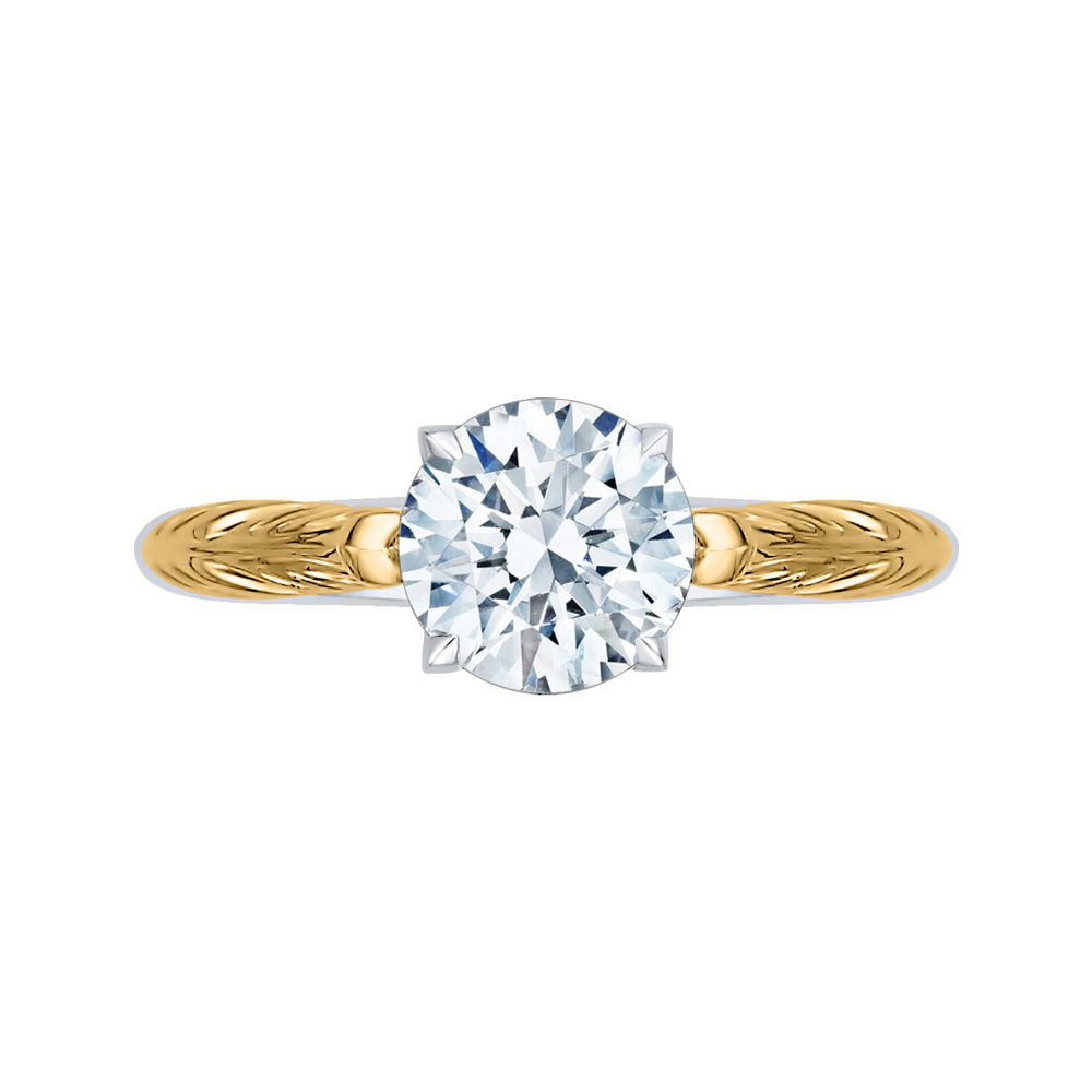 CA0199E-WY-1.50 Bridal Jewelry Carizza White Gold Rose Gold Yellow Gold Vintage Round Diamond Solitaire Engagement Rings