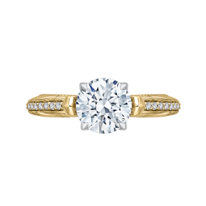 CA0203E-37WY-1.50 Bridal Jewelry Carizza White Gold Rose Gold Yellow Gold Round Diamond Engagement Rings