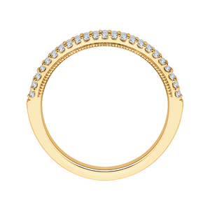 14K Yellow Gold Round Diamond Half Eternity Wedding Band