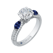 Load image into Gallery viewer, 14K White Gold Round Diamond and Sapphire Engagement Ring (Semi Mount)