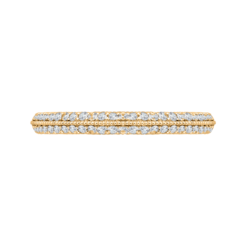 CA0217B-37-1.50 Bridal Jewelry Carizza Yellow Gold Round Diamond Wedding Bands
