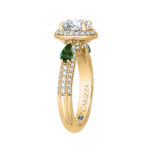Load image into Gallery viewer, 14K Yellow Gold Round Diamond and Green Tsavorite Engagement Ring (Semi Mount)
