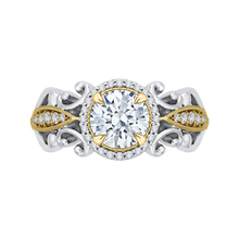 Load image into Gallery viewer, CA0218E-37WY Bridal Jewelry Carizza White Gold Rose Gold Yellow Gold Round Diamond Halo Engagement Rings