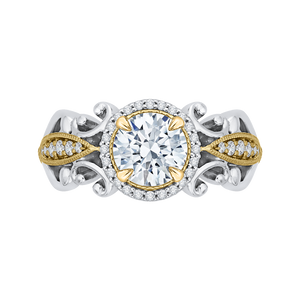 CA0218E-37WY Bridal Jewelry Carizza White Gold Rose Gold Yellow Gold Round Diamond Halo Engagement Rings