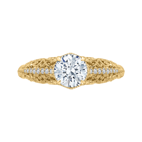 CA0219E-37 Bridal Jewelry Carizza Yellow Gold Round Diamond Engagement Rings
