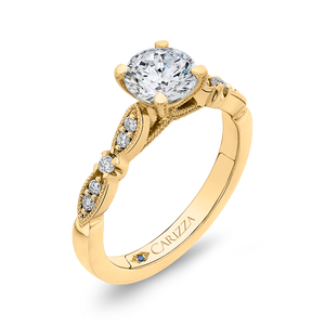 14K Yellow Gold Round Diamond Vintage Engagement Ring (Semi Mount)