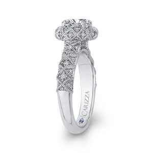 14K White Gold Round Cut Diamond Flower Halo Engagement Ring (Semi Mount)
