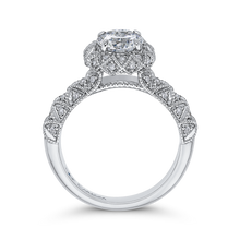 Load image into Gallery viewer, 14K White Gold Round Cut Diamond Flower Halo Engagement Ring (Semi Mount)