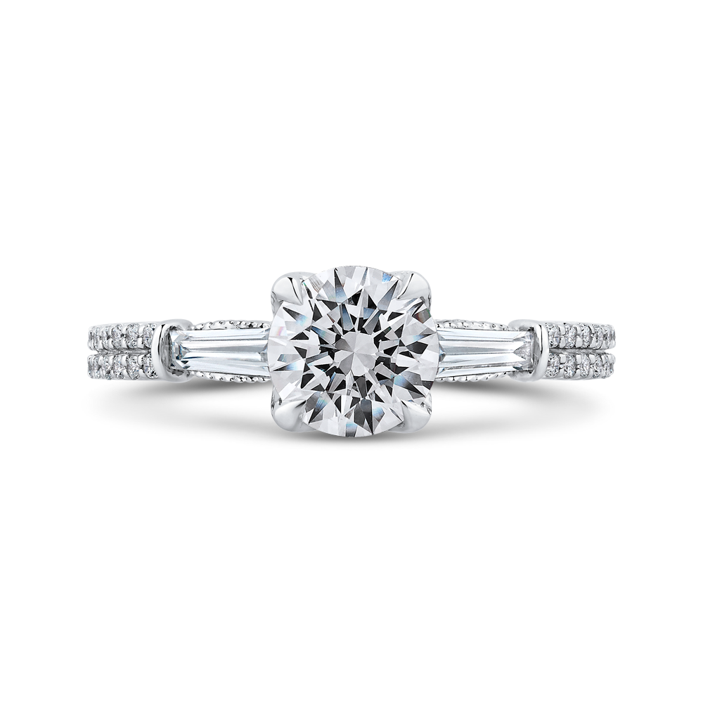 CA0256EH-37W-1.00 Bridal Jewelry Carizza White Gold Round Diamond Engagement Rings