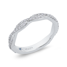 Load image into Gallery viewer, 14K White Gold Round Diamond Criss Cross Wedding Band