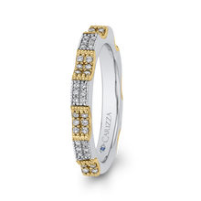 Load image into Gallery viewer, 14K Two Tone Gold Round Diamond Eternity Wedding Band