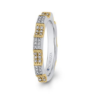 14K Two Tone Gold Round Diamond Eternity Wedding Band