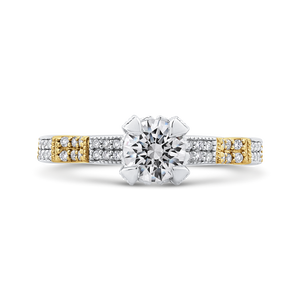 CA0264EQ-37WY-1.50 Bridal Jewelry Carizza White Gold Rose Gold Yellow Gold Round Diamond Engagement Rings