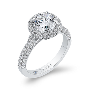 14K White Gold Round Diamond Double Halo Engagement Ring (Semi Mount)