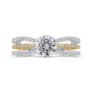 CA0267EQ-37WY Bridal Jewelry Carizza White Gold Rose Gold Yellow Gold Round Diamond Engagement Rings