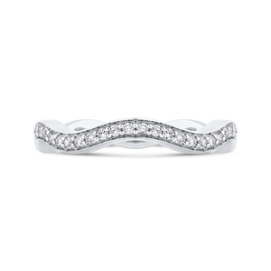 CA0272B-37W-1.00 Bridal Jewelry Carizza White Gold Round Diamond Wedding Bands