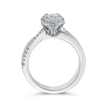 Load image into Gallery viewer, 14K White Gold Round Diamond Floral Engagement Ring (Semi Mount)