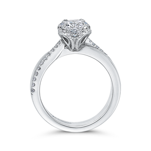 14K White Gold Round Diamond Floral Engagement Ring (Semi Mount)