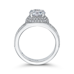 Round Cut Diamond Engagement Ring In 14K White Gold (Semi Mount)