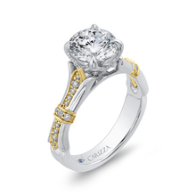 Load image into Gallery viewer, 14K Two Tone Gold Round Cut Diamond Floral Engagement Ring (Semi Mount)