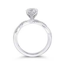 Load image into Gallery viewer, 14K White Gold Round Diamond Engagement Ring with Criss Cross Shank (Semi Mount)