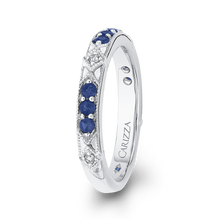Load image into Gallery viewer, 14K White Gold Round Diamond and Sapphire Wedding Band
