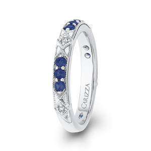 14K White Gold Round Diamond and Sapphire Wedding Band