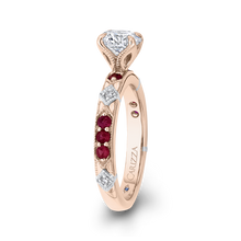 Load image into Gallery viewer, 14K Two Tone Gold Round Diamond and Ruby Engagement Ring (Semi Mount)