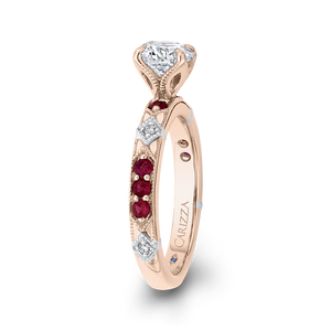 14K Two Tone Gold Round Diamond and Ruby Engagement Ring (Semi Mount)