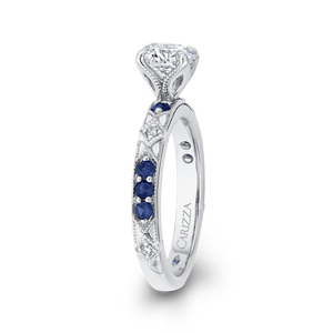 14K White Gold Round Diamond and Sapphire Engagement Ring (Semi Mount)