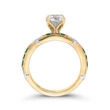 Load image into Gallery viewer, 14K Two Tone Gold Round Diamond and Green Tsavorite Engagement Ring (Semi Mount)