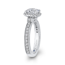 Load image into Gallery viewer, Round Diamond Halo Engagement Ring In 14K White Gold (Semi Mount)