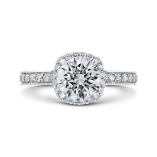 Load image into Gallery viewer, CA0291EQ-37W-1.50 Bridal Jewelry Carizza White Gold Round Diamond Halo Engagement Rings