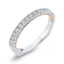 Load image into Gallery viewer, 14K Two Tone Gold Round Diamond Half Eternity Wedding Band with Euro Shank